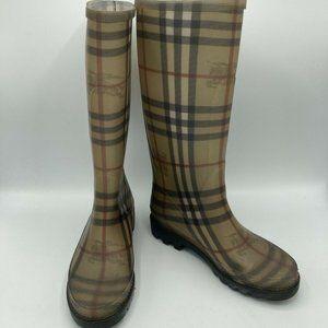 BURBERRY Haymarket Check Pattern Rubber Rain Boots
